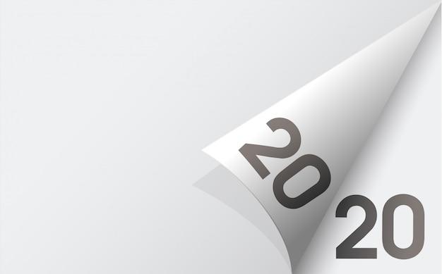 Feliz ano novo 2020 fundo com fundo de folhas de papel branco macio.