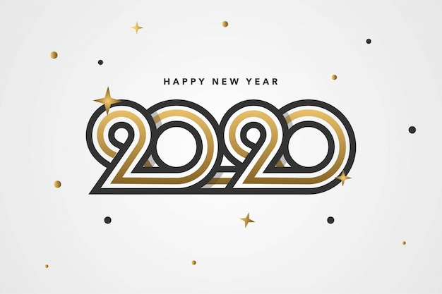 Feliz ano novo 2020 fundo com número personalizado exclusivo