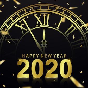 Feliz ano novo 2020 fundo com relógio