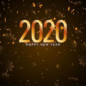 Feliz ano novo 2020 fundo de confete dourado