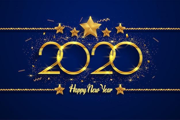 Feliz ano novo 2020 fundo de texto dourado