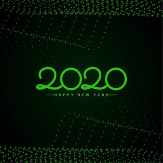 Feliz ano novo 2020 fundo de texto verde