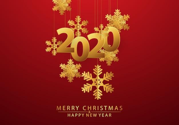Feliz ano novo 2020 fundo decorado com flocos de neve e dourado