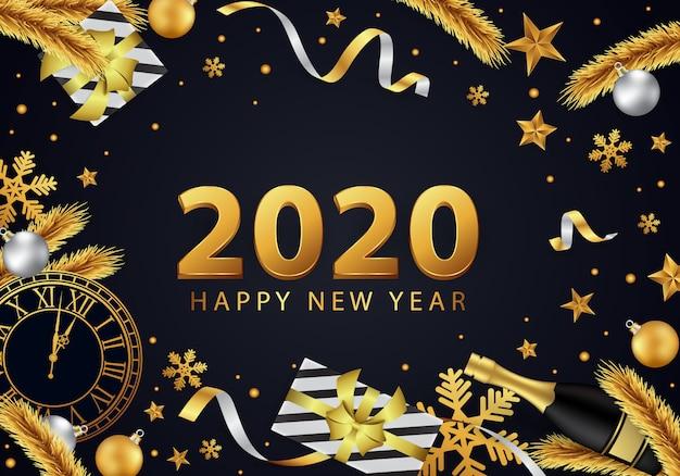 Feliz ano novo 2020 fundo, lindamente decorado em ouro