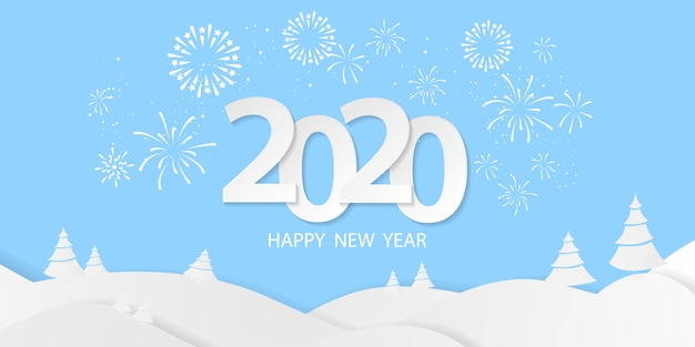 Feliz ano novo 2020 fundo. modelo de cartão de saudação. celebre o folheto ou panfleto. modelo com fogos de artifício. luxo rico cartão de saudação.