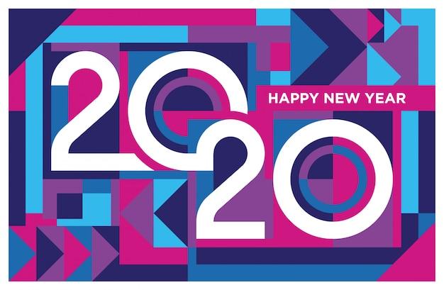 Feliz ano novo 2020 fundo na cor roxa e azul