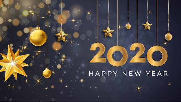 Feliz ano novo 2020 fundo premium