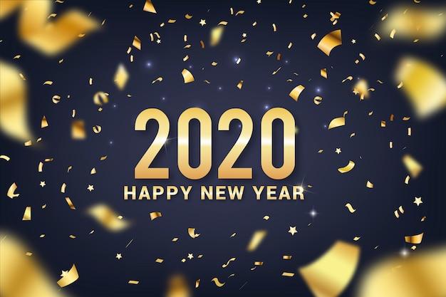 Feliz ano novo 2020 letras com fundo decoração realista