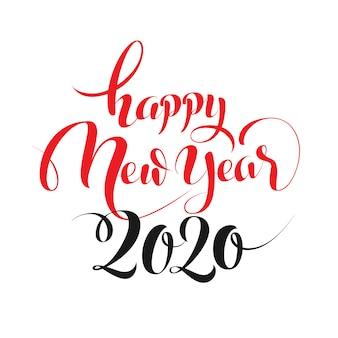 Feliz ano novo 2020 letras de mão