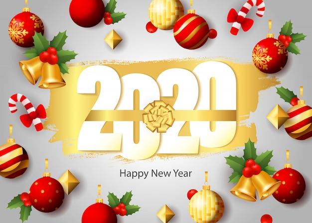 Feliz ano novo, 2020 letras, enfeites, bastões de doces, sino