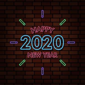 Feliz ano novo 2020 luz de néon efeito de texto ilustração