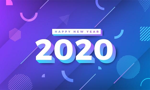 Feliz ano novo 2020 memphis design