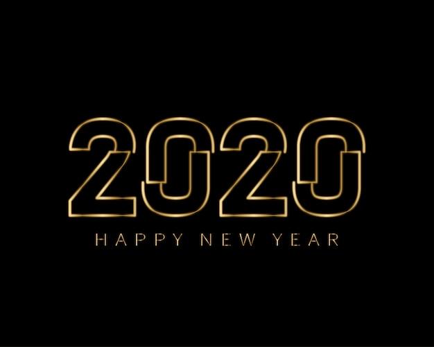 Feliz ano novo 2020 minimalista dourado brilha