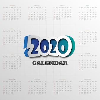 Feliz ano novo 2020 modelo de calendário moderno. vetor / ilustração.