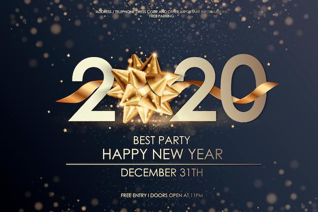 Feliz ano novo 2020 modelo de cartão de férias de inverno.