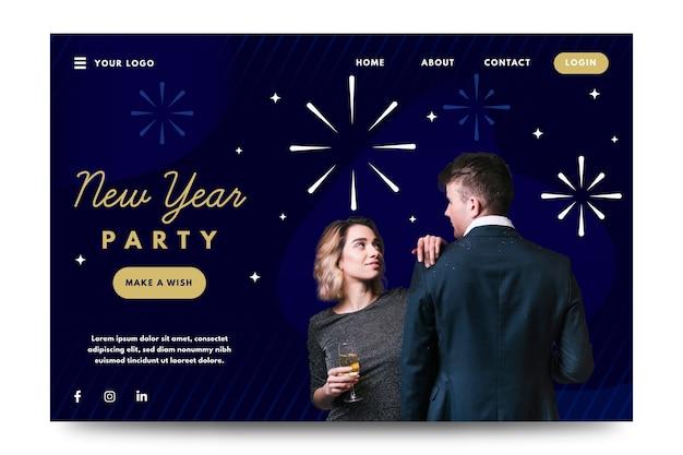 Feliz ano novo 2020 modelo de página de destino