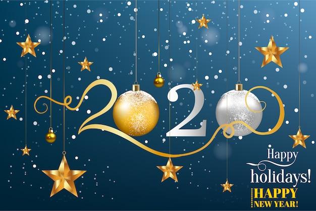 Feliz ano novo 2020 modelo de vetor de cor