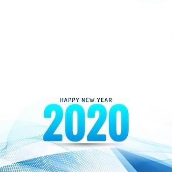 Feliz ano novo 2020 moderno fundo ondulado