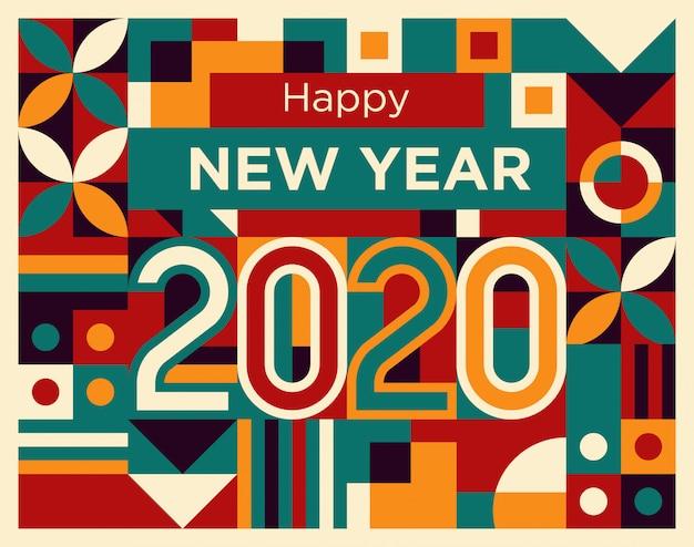 Feliz ano novo 2020 no estilo de formas geométricas abstratas vermelho, tosca, amarelo e roxo