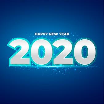 Feliz ano novo 2020 número com respingos de glitter azul
