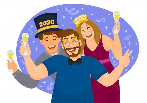Feliz ano novo 2020. pessoas celebrando festa