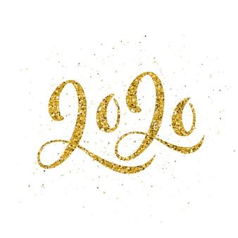 Feliz ano novo 2020 poster com letras de composição.