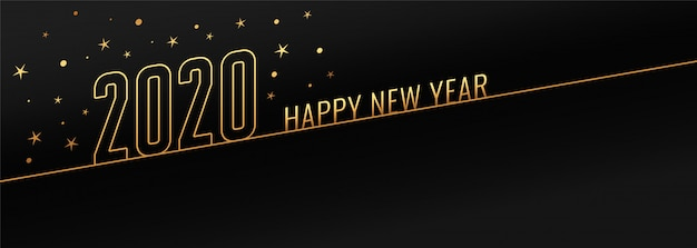 Feliz ano novo 2020 preto e dourado banner