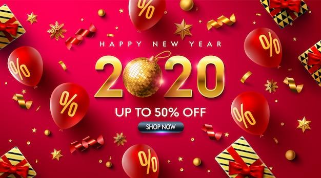 Feliz ano novo 2020 promoção cartaz ou banner com balões vermelhos