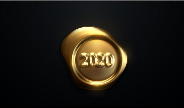 Feliz ano novo 2020. realista 3d carimbo em papel preto
