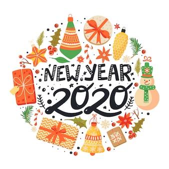 Feliz ano novo 2020 redondo fundo