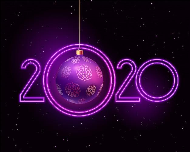 Feliz ano novo 2020 roxo estilo neon