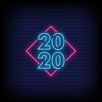 Feliz ano novo 2020 sinais de néon estilo texto