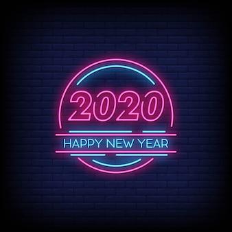 Feliz ano novo 2020 sinais néon estilo texto