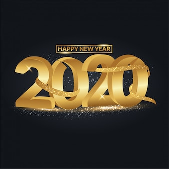 Feliz ano novo 2020 texto 3d com respingos de confete glitter dourados