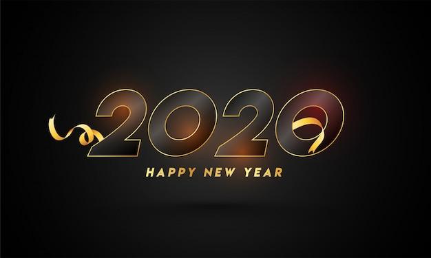 Feliz ano novo 2020 texto com fita dourada sobre fundo preto.