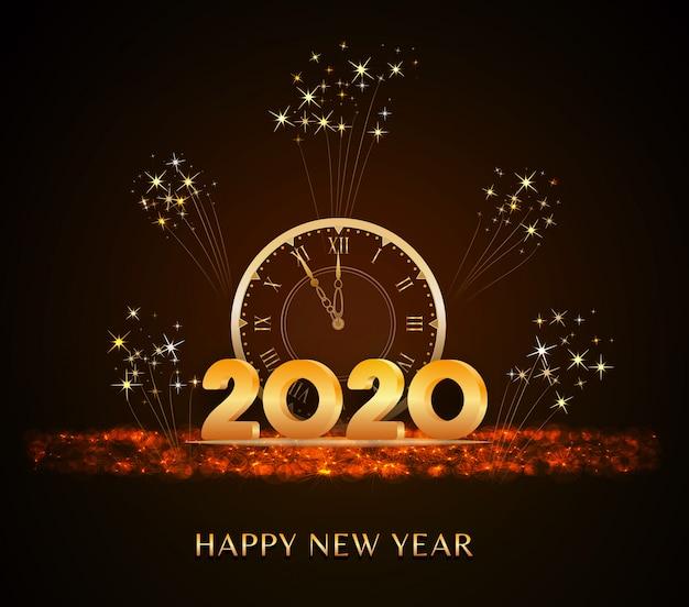 Feliz ano novo 2020, texto de ano novo com números 3d dourados e relógio vintage no brilho do feriado