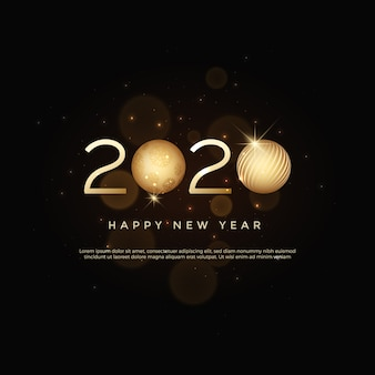 Feliz ano novo 2020 texto de logotipo