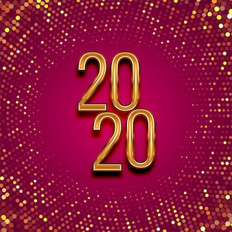 Feliz ano novo 2020 texto de ouro para brilhos pontilhados
