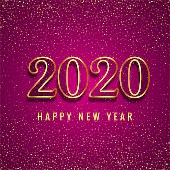 Feliz ano novo 2020 texto de ouro para cartão de brilhos