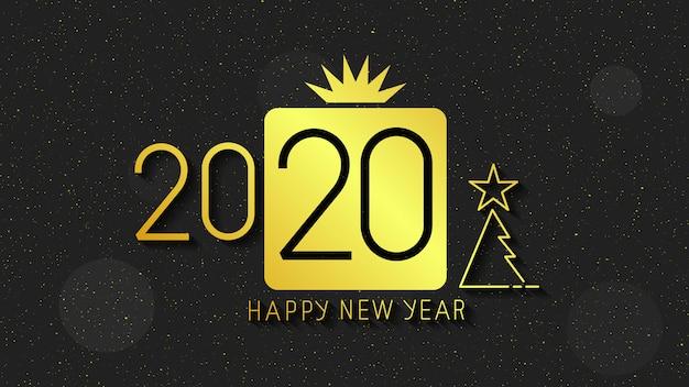 Feliz ano novo 2020 texto do logotipo. capa do diário de negócios para 2020 com desejos.