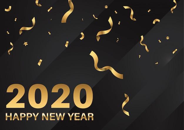 Feliz ano novo 2020 texto e número cartão