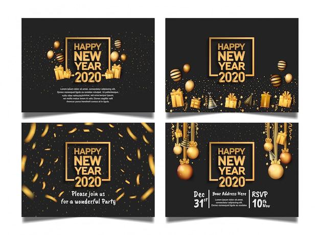 Feliz ano novo 2020. vetor definido para celebração