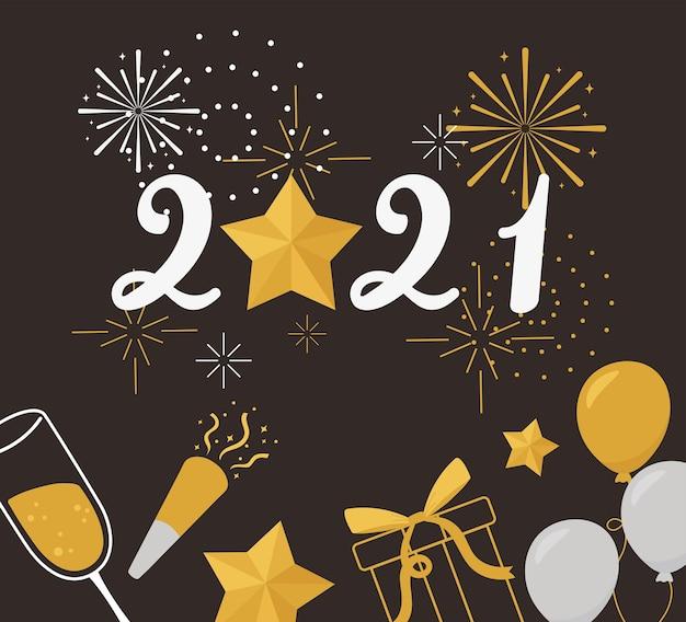 Feliz ano novo 2021, balões presentes estrela confete fogos de artifício ilustração vetorial celebração
