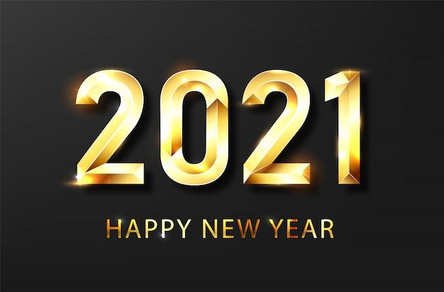 Feliz ano novo 2021 banner.golden vector luxo texto 2021 feliz ano novo.