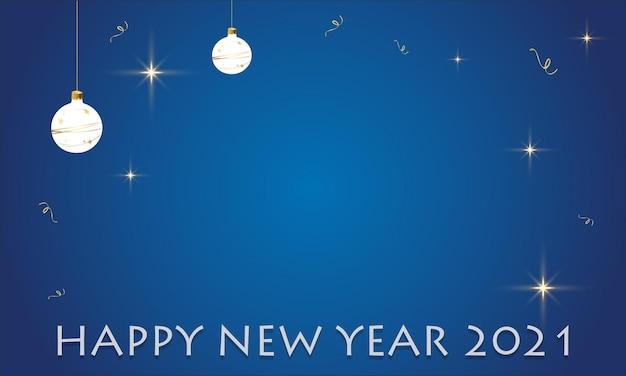 Feliz ano novo 2021 branco prata azul cartão comemorativo