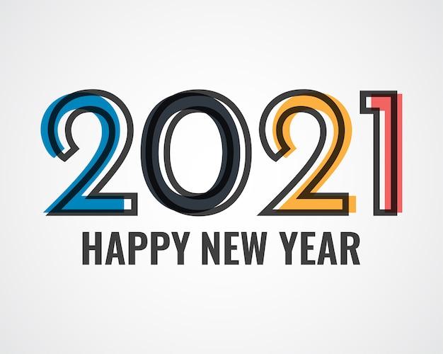 Feliz ano novo 2021. cartão de cumprimentos.