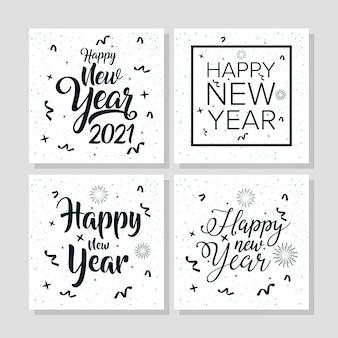 Feliz ano novo 2021 cartaz de celebração com quadros de quadrados