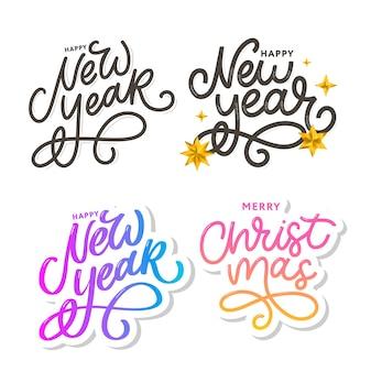 Feliz ano novo 2021 cartaz lindo cartão com fogos de artifício de ouro palavra caligrafia texto preto.