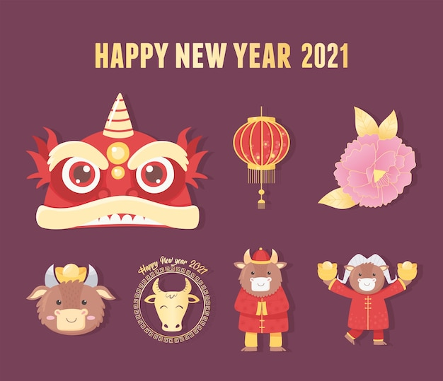Feliz ano novo 2021 chinês, cartão de convite celebração cultura oriental