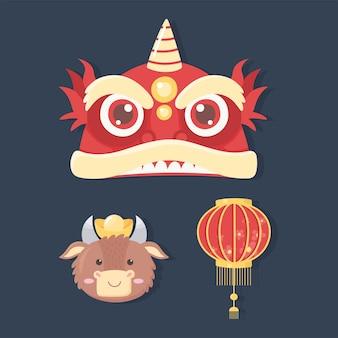 Feliz ano novo 2021 chinês, conjunto de ícones lanterna boi e ilustração de dragão
